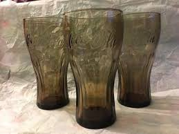 mcdonalds coca cola glasses set of 3 smoky color