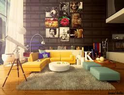 apartment living room rug. Modern Contemporary High Ceiling Apartment Living Room With Yellow Leather Sectional Corner Sofa Curtain Marble Wall Shag Rug Design Ideas U