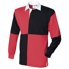 front row mens casual quartered rugby shirt fr02m l black red white collar