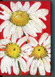 shasta daisy painting on red original on canvas by sharonfosterart