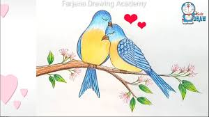 pictures of birds for drawing. Delighful Birds How To Draw Two Birds In Love  Step By On Pictures Of Birds For Drawing G