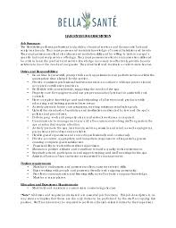 Beautician Job Description Catering Manager Resume 16 Shining