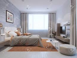 Moderne Schlafzimmer Interieur In Grau Und Orange Farben Mixed Wand