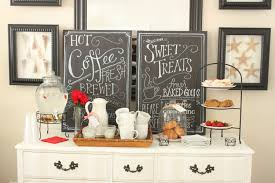 coffee station furniture. Simple And Small Coffee Station Table With Drawer Painted White Color Plus Ratttan Tray Chalkboard Decoration Ideas Furniture
