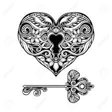 decorative heart shape key and vine lock hand drawn isolated vector ilration stock vector 45804506