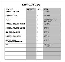 Free 7 Sample Free Exercise Log Templates In Pdf Doc