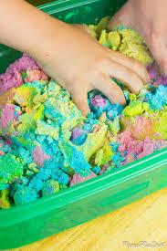 diy unicorn kinetic sand in rainbow colors with glitter via mamaplusone com