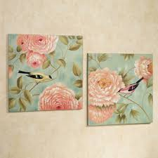 >birds perched by flowers canvas wall art set touch to zoom