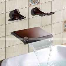 yufaik oil rubbed bronze waterfall widespread wall mount bathtub faucet dinodirect com