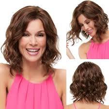 Nové Módy Lady ženy Krátké Kudrnaté Vlnité Vlasy Paruky Syntetické Krajky Přední Lidské Vlasy Paruka Střední účes At Vova