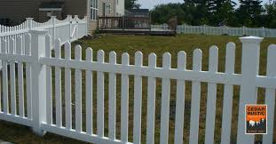 Scalloped vinyl picket fence Cape Cod Dog Eared Scalloped Vinyl Picket Fence Cedar Rustic Fence Co Dog Eared Scalloped Vinyl Picket Fence Cedar Rustic Fence Co