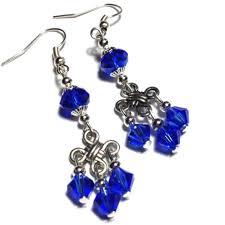 long blue crystal glass chandelier earrings pierced or clip on s p 121 1