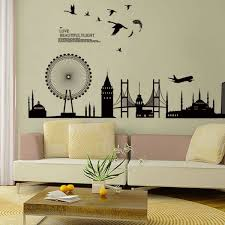 black city building art wall decor decals mural pvc wall stickers home decor