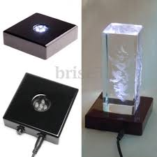 Trophy Display Stand Interesting 32 LED White Lights Stand Wooden Base USB Crystal Display AC Adapter