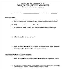 Job Evaluation Template Inspiration Employee Evaluation Template 44 Free Word PDF Documents Download