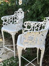 white iron patio furniture. Fine Patio Vintage Victorian White Ornate Wrought Iron Chair Indoor Or Outdoor Barstool Inside Patio Furniture T