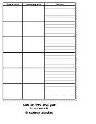 Blank Vocabulary Worksheet Template Interactive Notebook Vocabulary Blank By Science Doodles