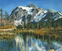 mount painting fall reflections cascade mountains by mary ellen anderson