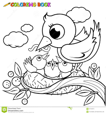 Small Picture Cute Birds In The Nest Coloring Book Page Stock Vector Image