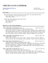 Chelsea Kaye Lanphear Residence Life Resume. CHELSEA KAYE LANPHEAR  Chelsea.kaye.lanphear@gmail.com 901 West Tower 802 ...