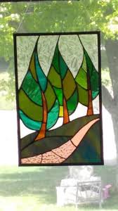 details about stained glass tree window panel art deco abstract hand crafted