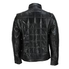 mens black real soft leather quilted jacket detachable sleeves retro field coat