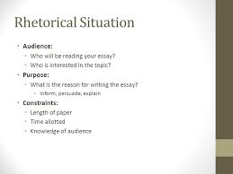 rhetorical situation and thesis statements pre course class  2 rhetorical situation