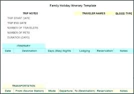 Trip Planner Excel Trip Planner Template Excel Family Vacation Itinerary Template Excel