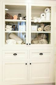 bathroom cabinet with glass doors built in linen cabinet white bathroom wall cabinet glass doors