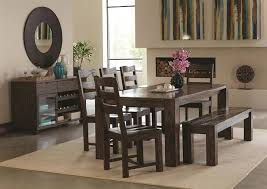 rustic dining table and chairs. Calabasas Rustic Dining Table Set With Bench And Chairs T