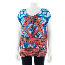 Vintage America Size L Blues Tie Short Sleeve V Neck Top Red