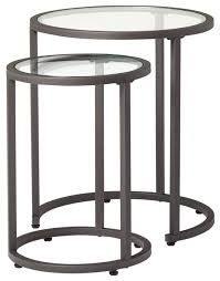 studio designs camber round nesting tables in pewter clear glass