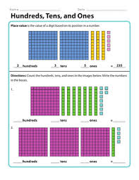 Hundreds Tens Units Chart Hundreds Tens And Ones Worksheet Education Com