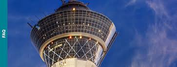 image of the stratosphere tower page top with a deep blue sky background and a faq