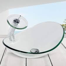 bathroom oval clear glass vessel sink tempered bath bowl faucet pop up drain set