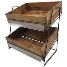 2 tier counter top brown wooden crate