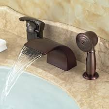oil rubbed bronze deck mounted waterfall bathtub bath tub faucet set with in shower faucets from deck mount waterfall bathroom sink faucet