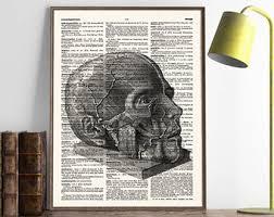 human anatomy art skull anatomy art print graduation gift doctor science dictionary art home office decor anatomical art 400 anatomy home office