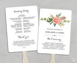 printable wedding program template fan wedding programs diy wedding programs wedding fans editable text 5x7 blush peony