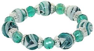 Coloured Glaze Balls Stretch Cord Bracelet Faceted Crystal