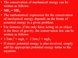 the conservation of mechanical energy can be written as follows me i me f