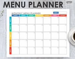 monthly meal planner template meal plan printable etsy