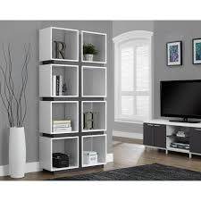 monarch specialties bookcase. Brilliant Monarch Monarch Specialties White And Grey Open Bookcase Intended Home Depot