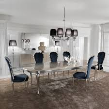 blue velvet dining chairs. Silver Leaf Dining Set Including Navy Blue Velvet Chairs R