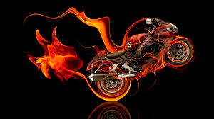 suzuki hayabusa fire abstract moto