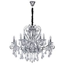 classic 12 arm pendant chandelier in chrome with crystal drops