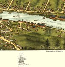 Gardiner And Pittston Maine In 1878 Birds Eye View Map