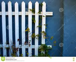 Blue Fence Designs Traditional Classic Design White Wooden Fence Stock Photo
