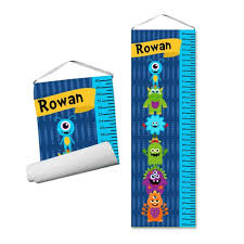 Monster Personalized Growth Chart Silly Blue Alien Height Ruler Kids Monster Growth Chart Add Birth Facts Childs Name Gift