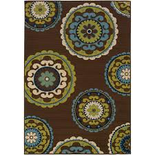 garden treasures weyland brown rectangular machine made coastal area rug common 5 x